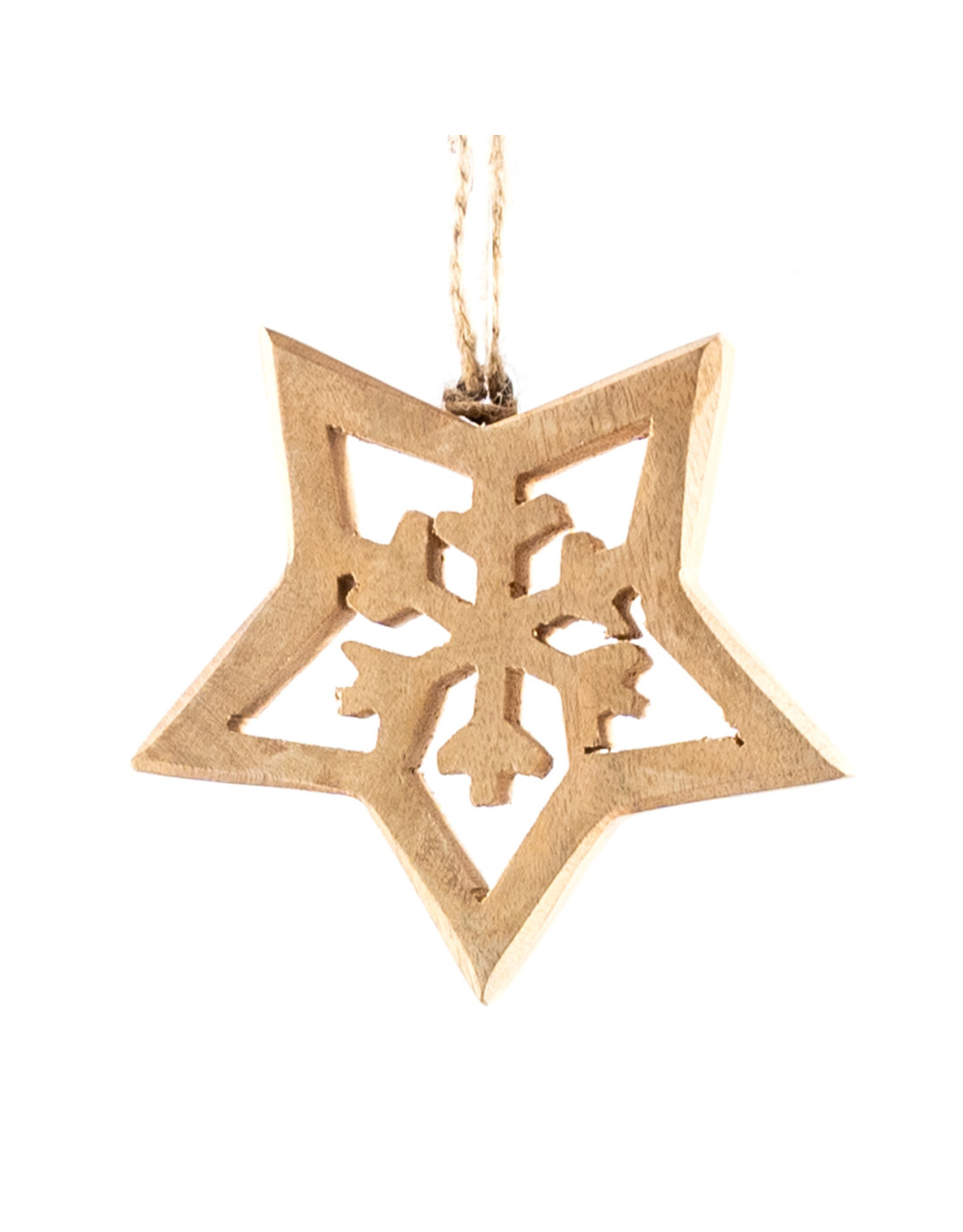 Koopman Hang Deco Star Wood 15cm