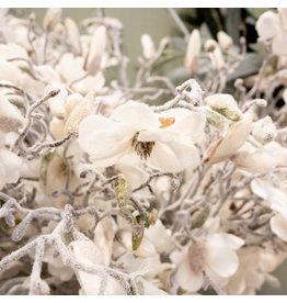 Magnolia white flocked - l72cm