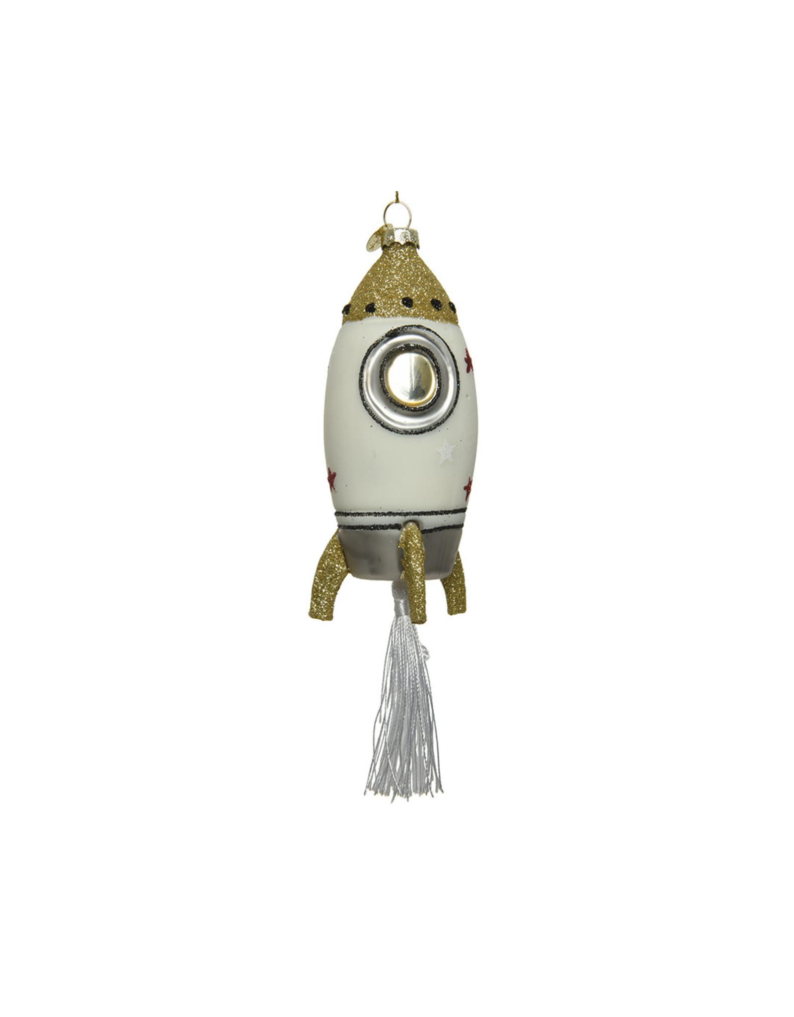 Kaemingk Glass ornament rocket with tassel