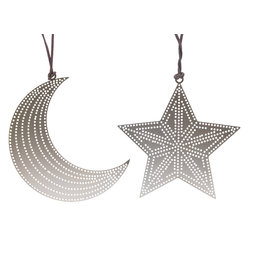 Kaemingk Ornament star & moon iron with dotted line cutouts