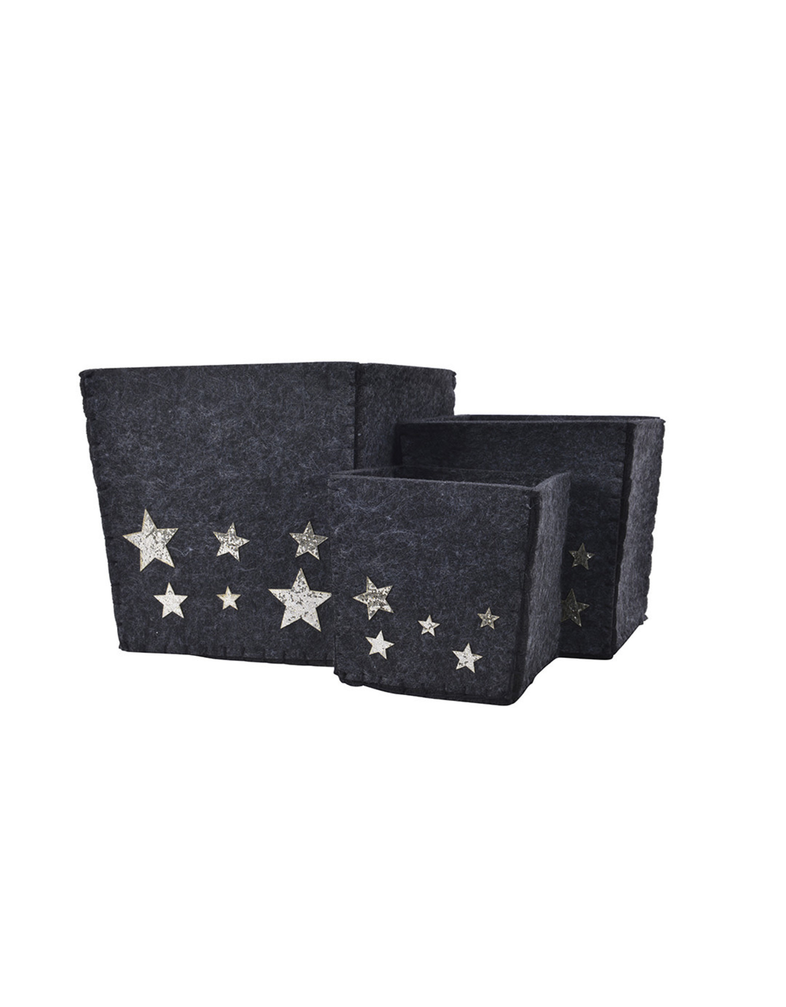 Kaemingk Black glitter felt box with foil stars
