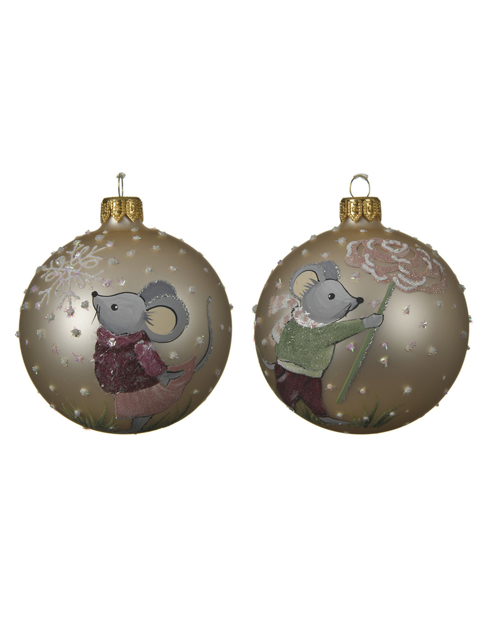 Kaemingk Glass ornament with mouse in snow