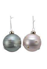 Kaemingk Glass ornament with stripes/beads