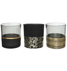 Kaemingk Glass tealight holders black/gold