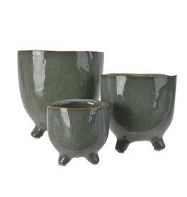 Kaemingk Stoneware planter on feet green