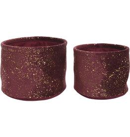 Kaemingk Velvet basket round sparkly raspberry