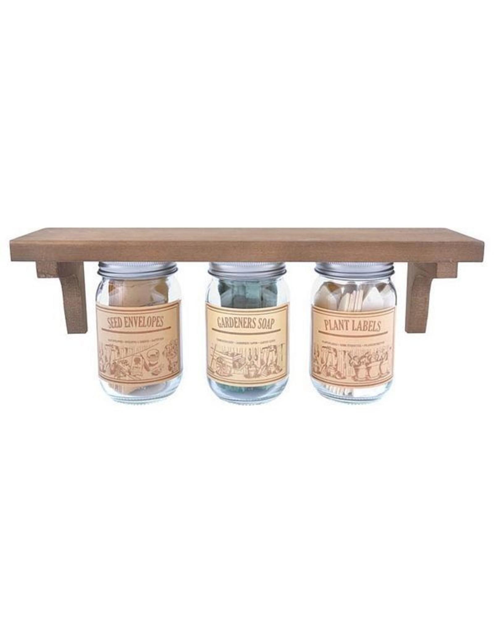 Esschert Hanging WoodShelf w/ 3 Jars