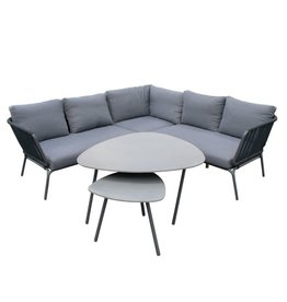 Eurofar International Verona Lounge - Corner Set 4 Pieces - Anthracite/Royal Anthracite Cushions
