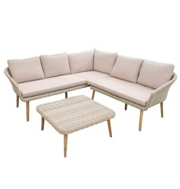 Eurofar International Mira Coffee - Corner Set 3 Pieces - Light Yellow Wicker/Taupe Cushions