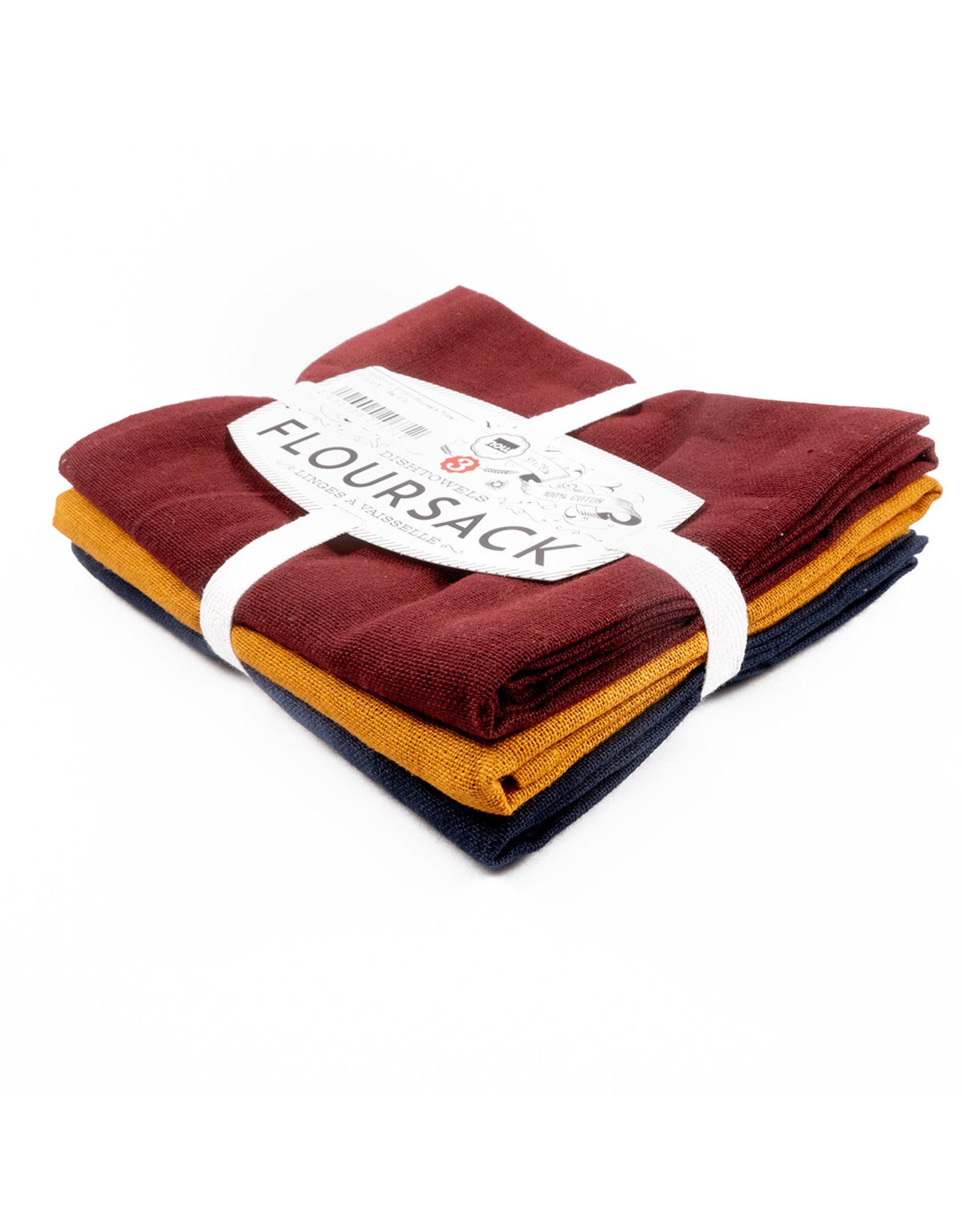 Floursack Towel - Set of 3 - Black/Oyster/White