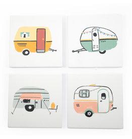 Amigos Square Soak Up Coasters - Happy Camper -Set of 4