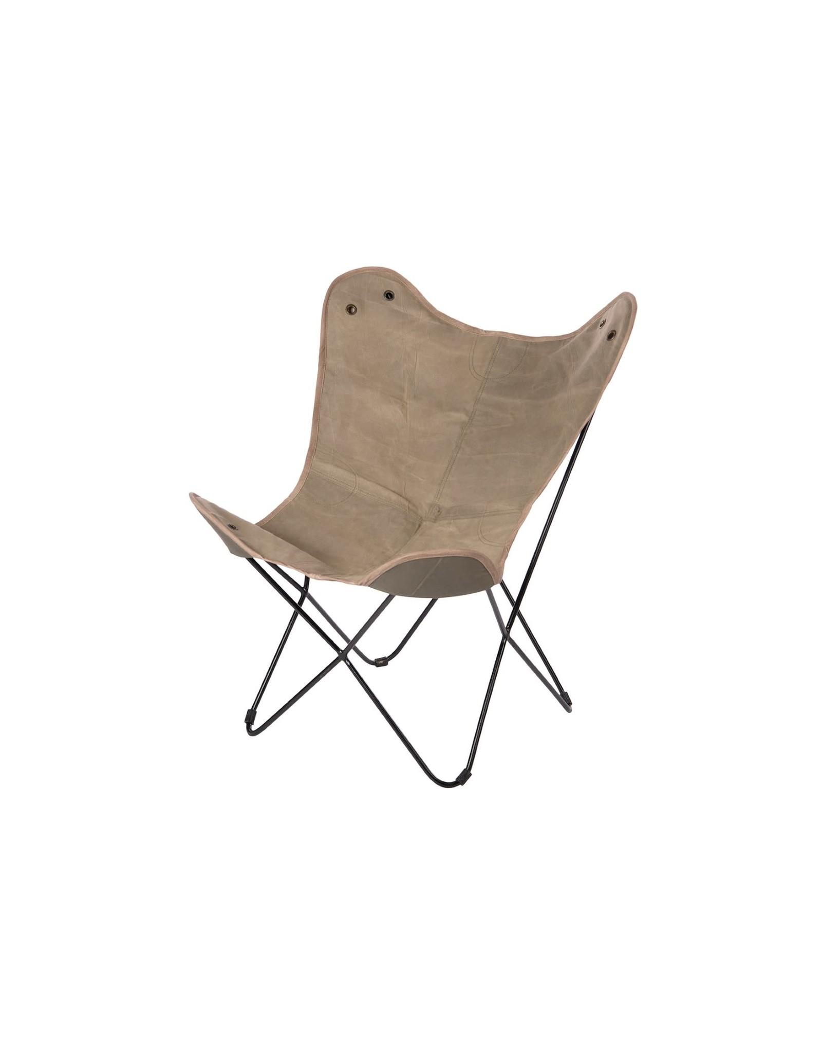 Dijk Canvas butterfly chair grey 72x82x92cm