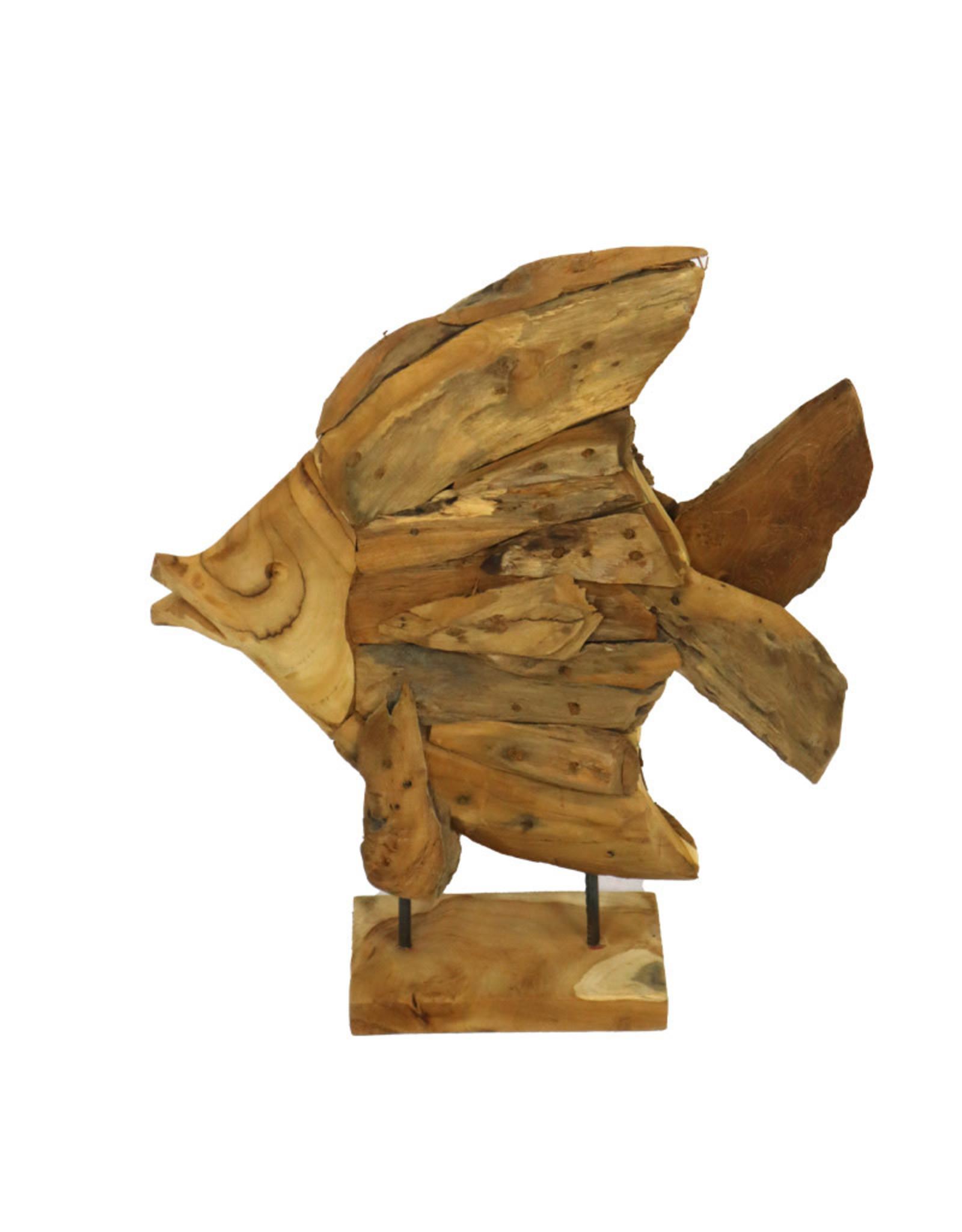 Dijk Fish on Stand Teak Driftwood