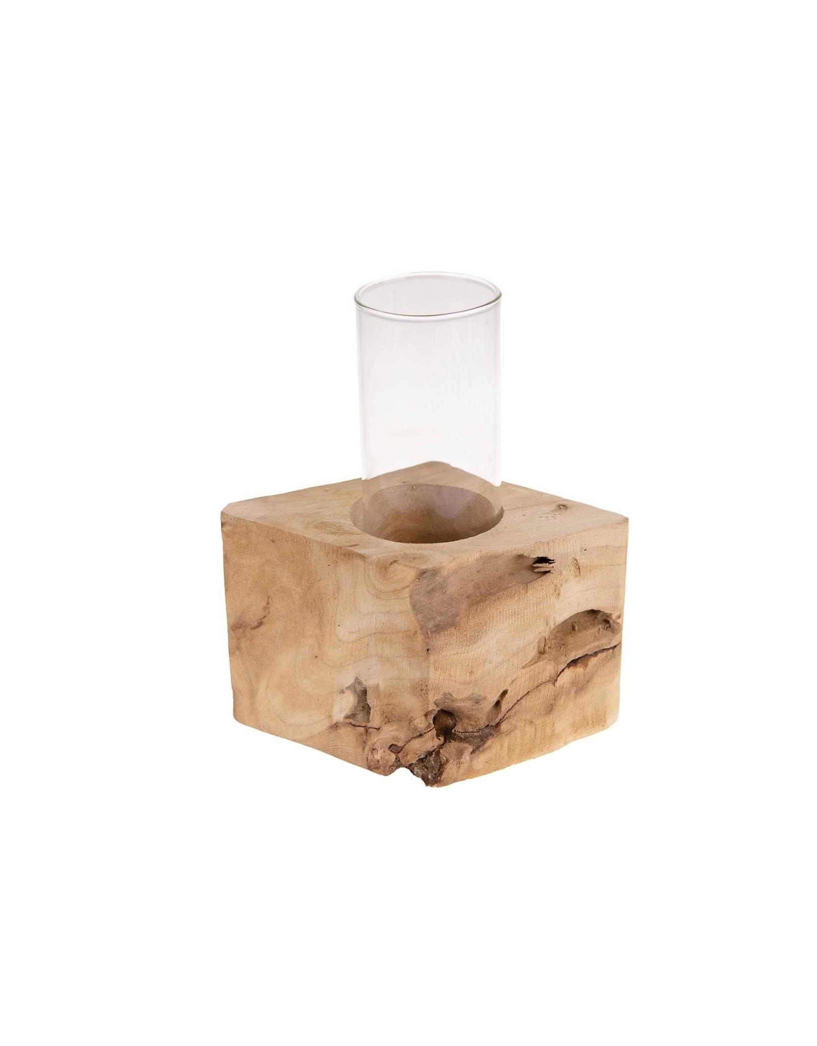 Dijk Candle Holder Chestnut Wood 15x10x10cm