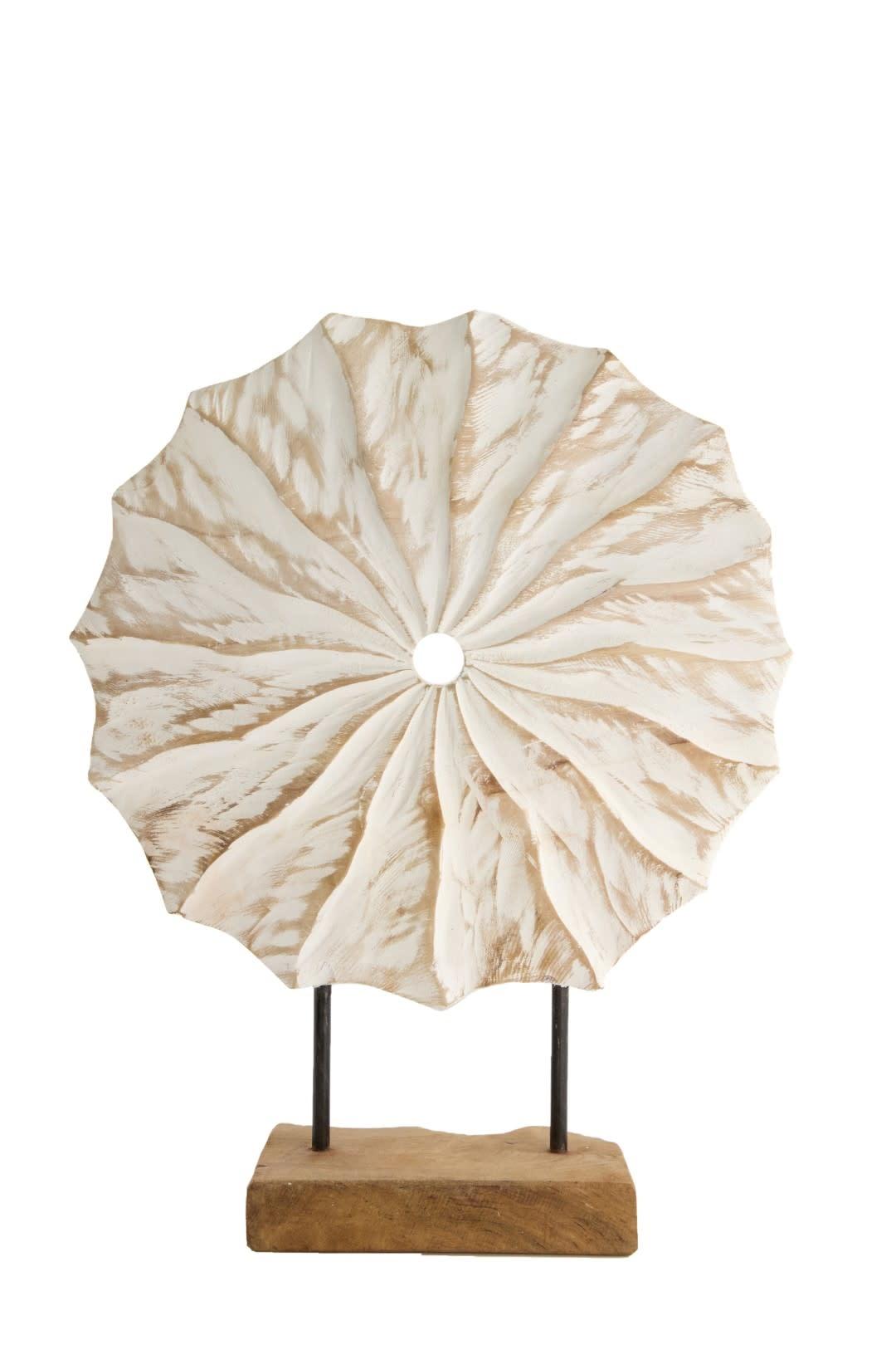 Dijk Carved Slice on Stand S Teak 30x9.5x39cm