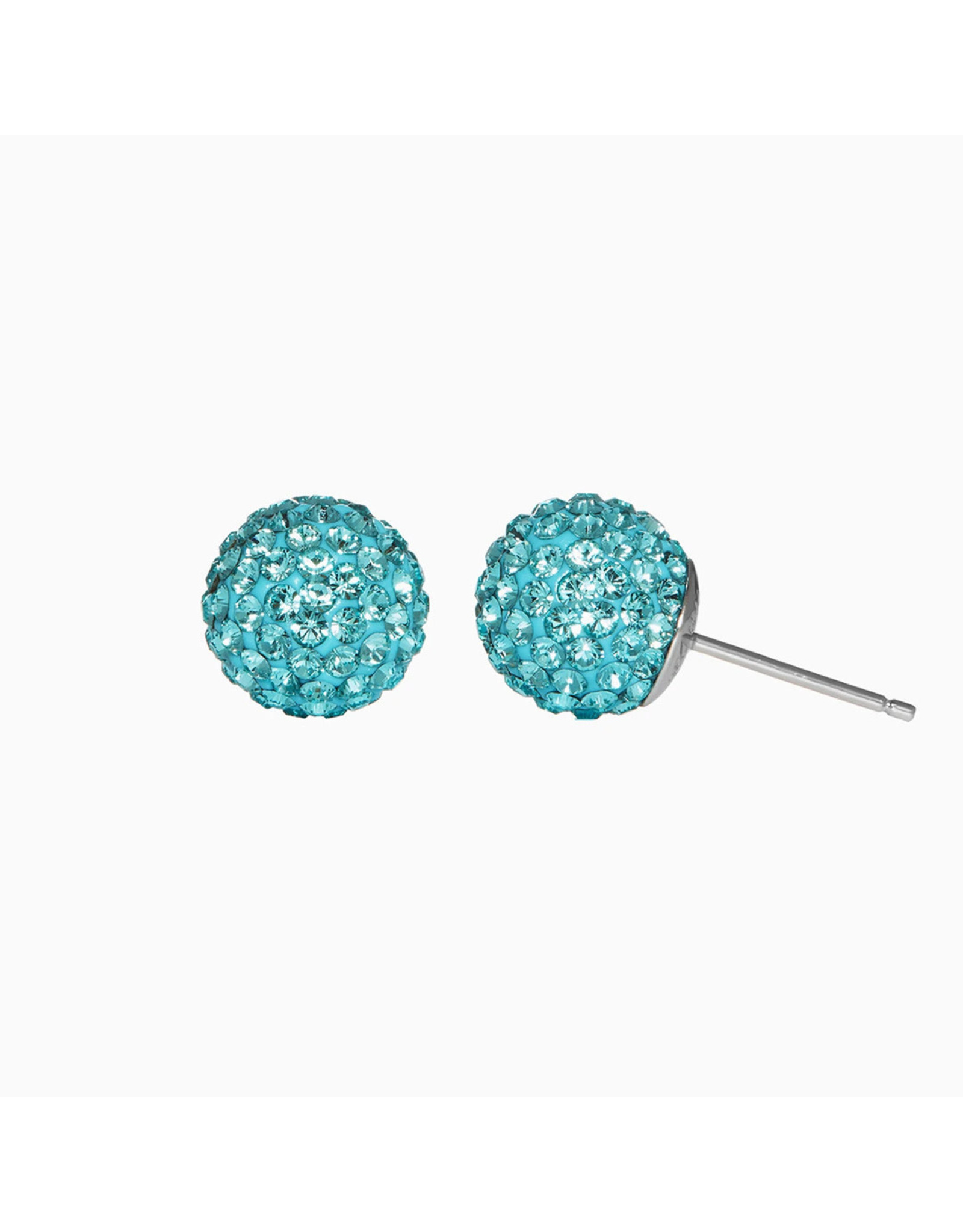 Hillberg & Berk H&B - Sparkle Ball Stud Earrings Blue Cyan