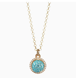 Hillberg & Berk H&B - Sparkle Ball Halo Necklace Pendant Blue Cyan