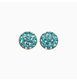 Hillberg & Berk H&B Sparkle Bezel Stud Earrings Blue Cyan