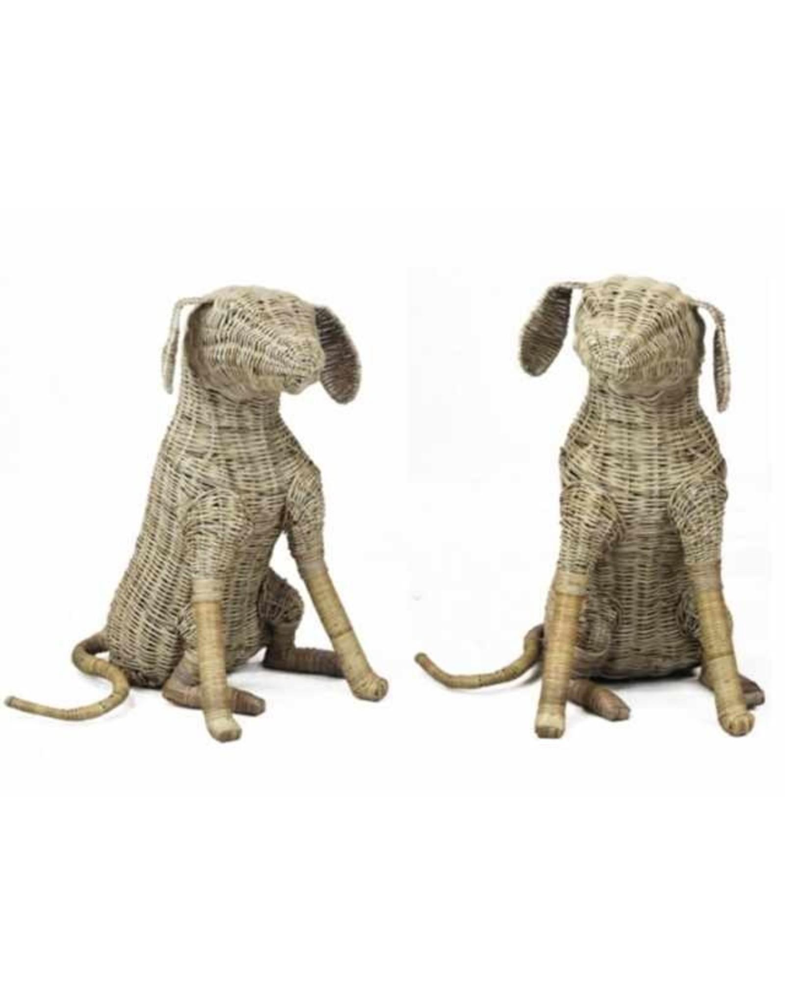 Van der Leeden Mandwerk Dog Rattan Grey 46X43H55cm - Incl Wooden Collar