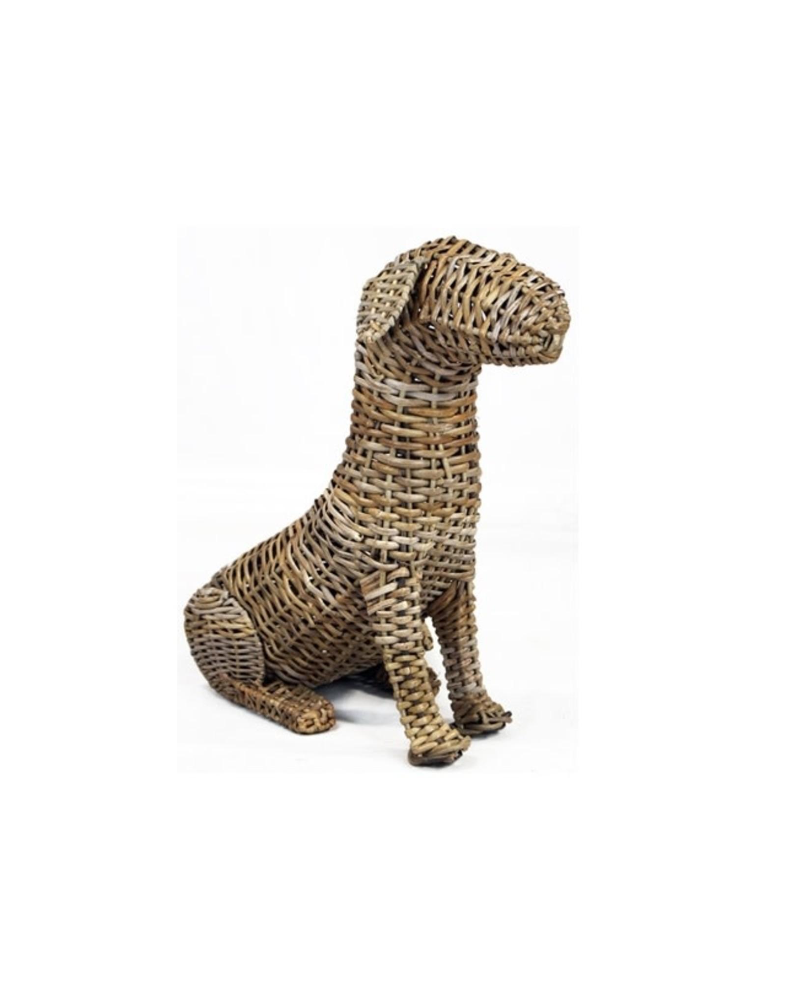Van der Leeden Mandwerk Dog Rattan Grey 53X31H49cm