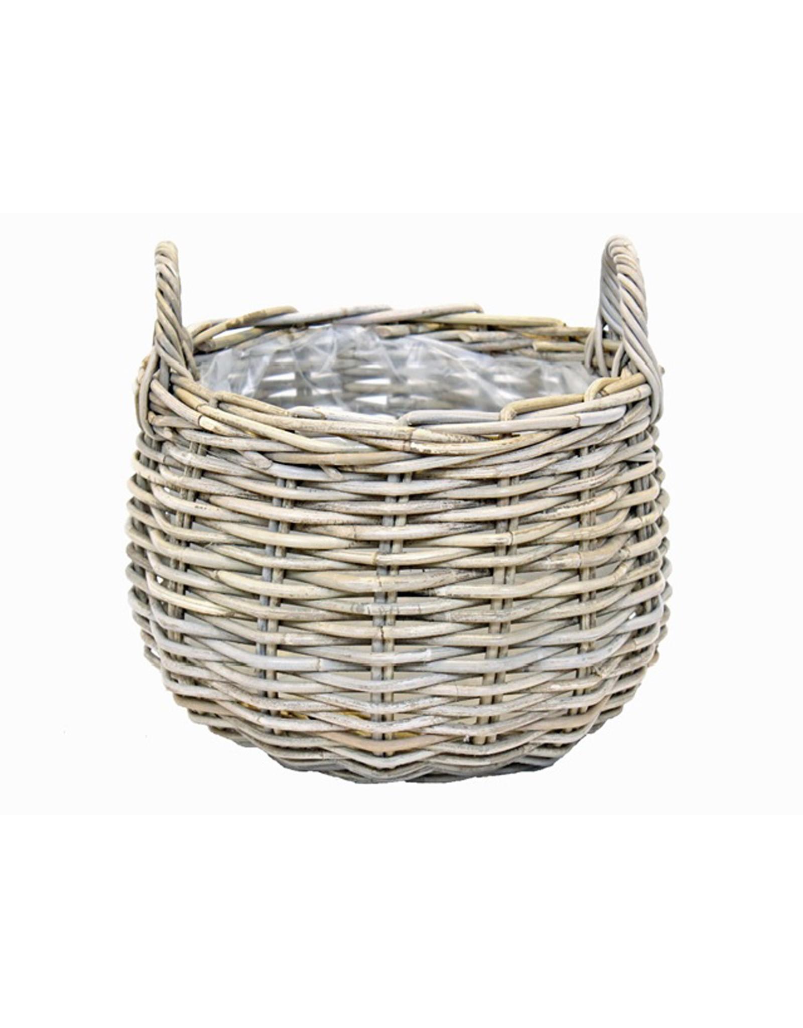 Van der Leeden Mandwerk Basket Rattan Grey With Lining Rnd                                                      D22H16Cm