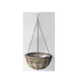 Van der Leeden Mandwerk Hanging Planter Rattan Grey With Lining