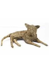 Van der Leeden Mandwerk Cat Rattan Grey 60X40H27cm - Incl Leather Collar