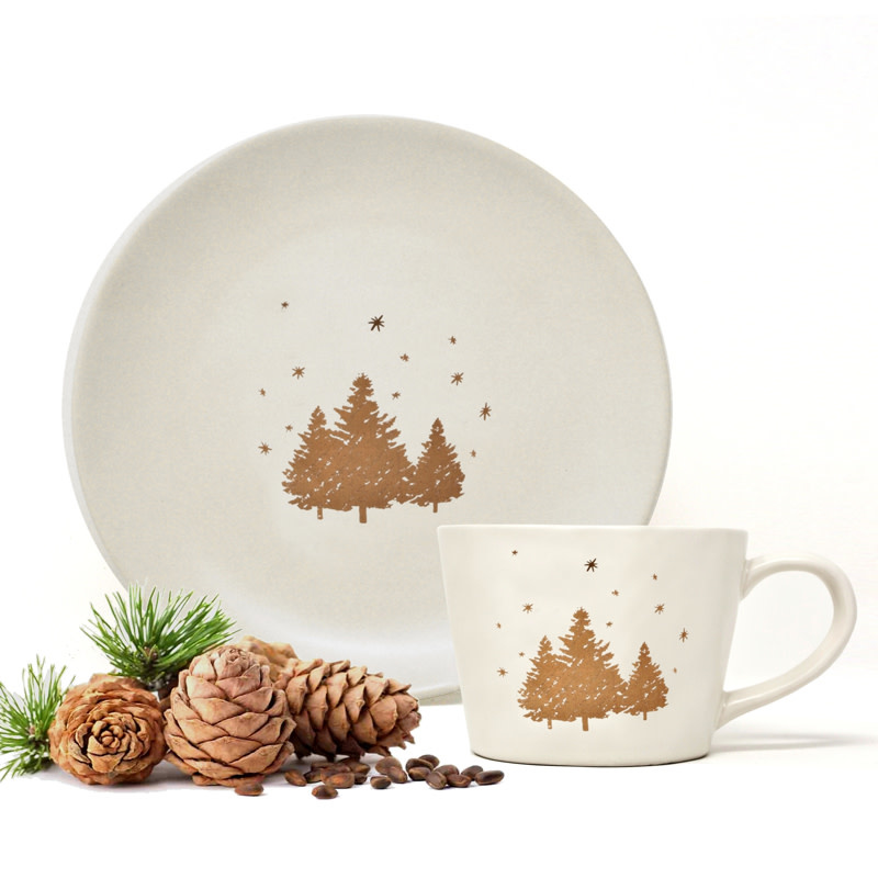 Alpine Mug - Gold Trees & Stars - Stoneware