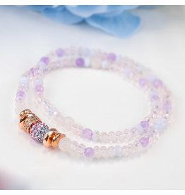 Hillberg & Berk H&B - Sparkle Ball - Double Wrap Bracelet Hydrangea