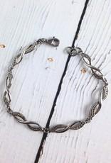 Sterling Silver Marcasite Infinity Link Bracelet