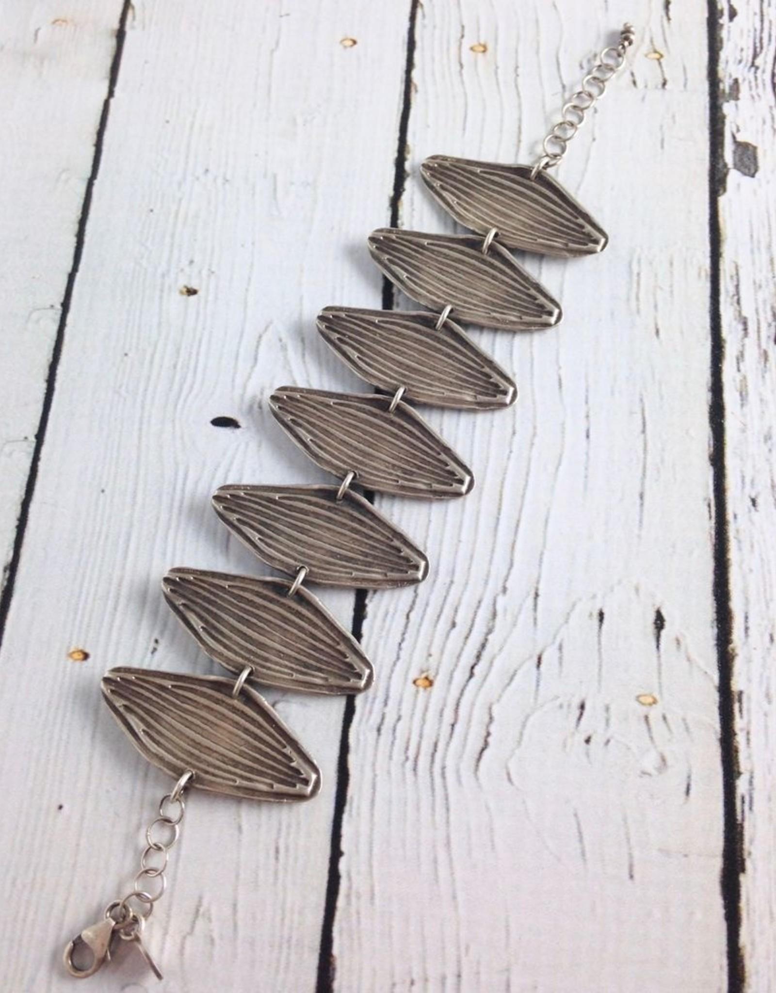 Handmade Oxidized Sterling Silver Wide Cast Leaf Cuff Bracelet by J&I
