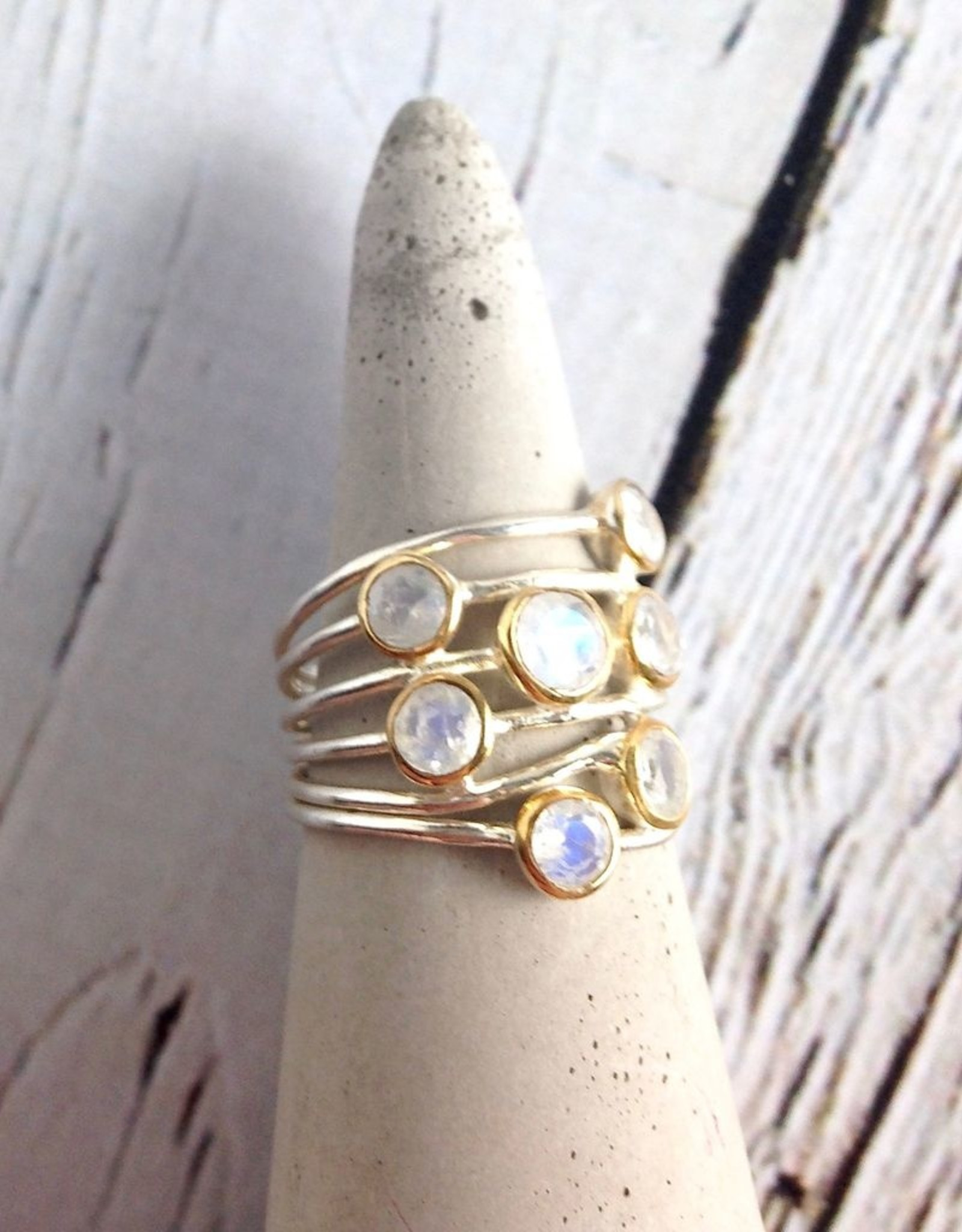 Ethereal Ring, Size 9 Sterling Silver ring with 7 Gold bezel set Rainbow Moonstones