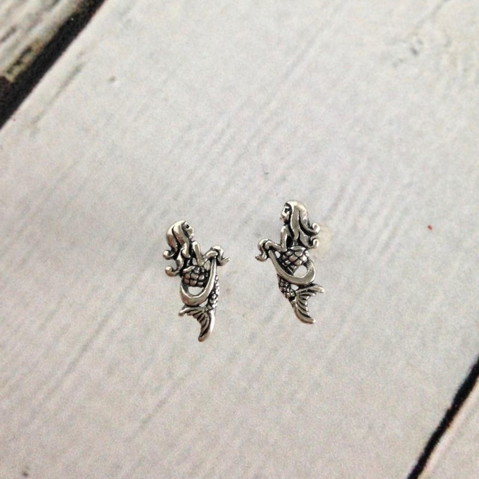 Mermaid Stud Earrings, Sterling Silver