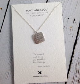 """Handmade Sterling Silver Necklace with Maya Angelou """"Be Present"""" Quote"""