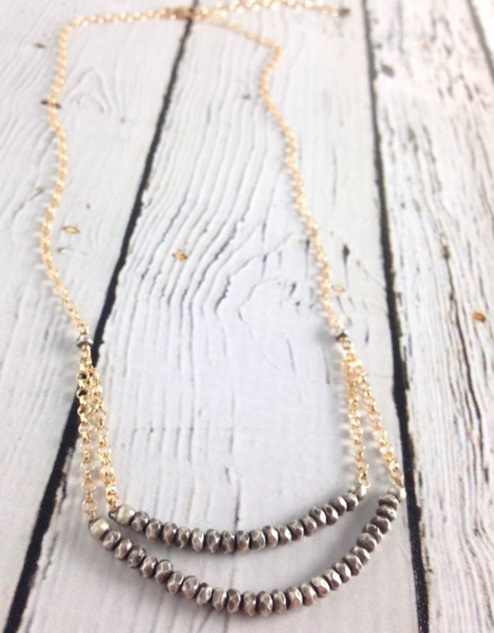 Oxidized Sterling bead and 14kt goldfill Chain Necklace