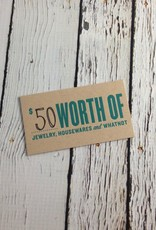 $50 Gift Card, good for in-store use only