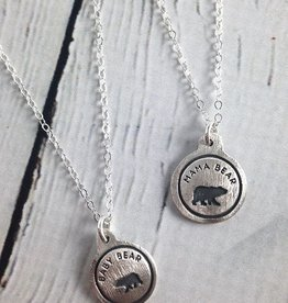 Mama Bear & Her Bear Cub, Set of 2 Recycled Sterling Silver Necklaces by Figs & Ginger