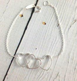 Boma Sterling Silver 3 Hearts Bracelet