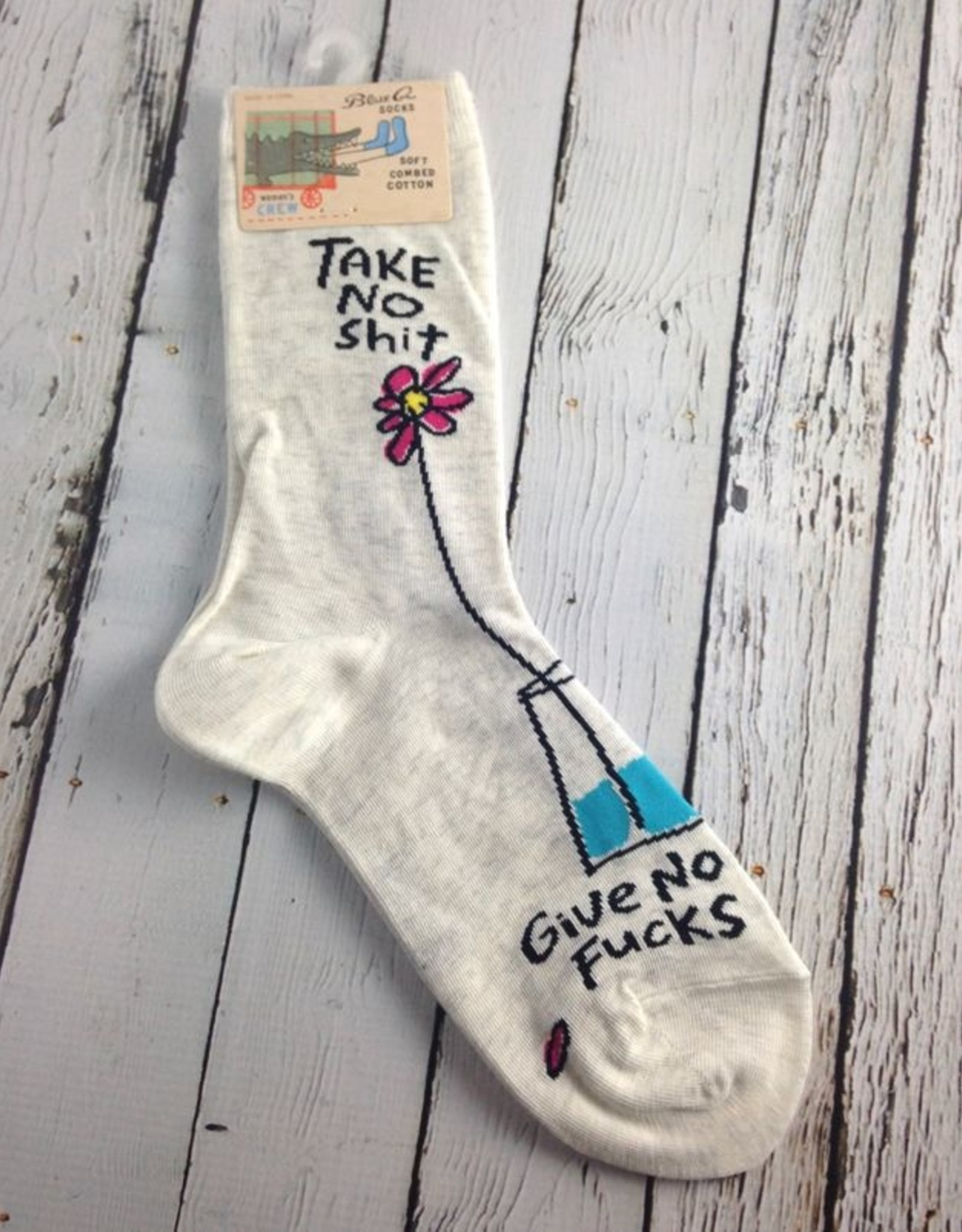 BlueQ Take No Shit Women's Crew Socks