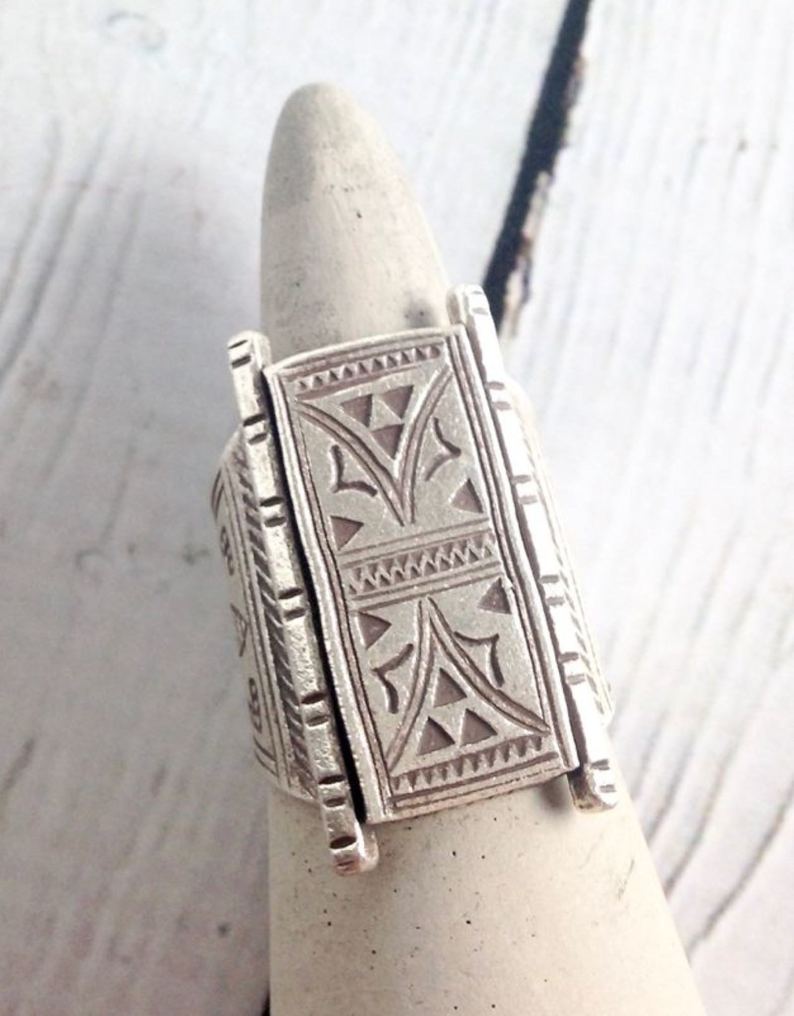 TigerMtn Temple Door Stamped Hilltribe Silver Ring, Size 9