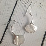Silver and Mother-of-Pearl Ginkgo Leaf Dangle Earrings