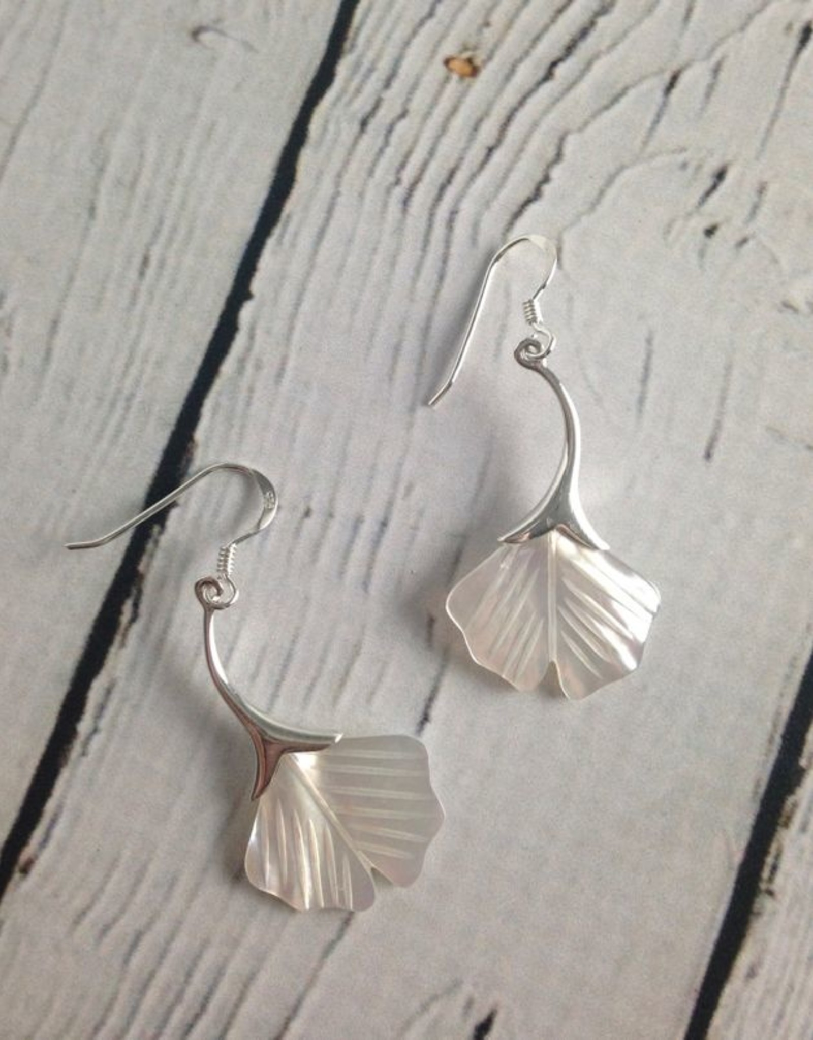 TigerMtn Silver and Mother-of-Pearl Ginkgo Leaf Dangle Earrings