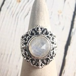 Sterling Silver Ring with Round Faceted Moonstone, Size 7