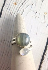 TigerMtn Sterling Silver Wrap Ring with Moonstone and Labradorite, Size 7