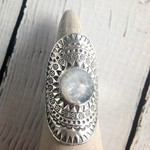 hilltribe Stamped Silver Ring with Round Faceted Moonstone, Size 8