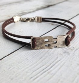 J&I Sterling Hinge Bracelet on Brown Cord