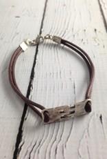 J&I Sterling Hinge Bracelet on Brown Cord