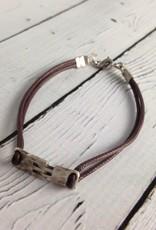 Sterling Hinge Bracelet on Brown Cord