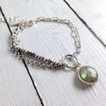 Handmade Multistrand labradorite chain sterling bracelet