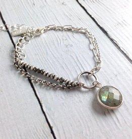 J&I Handmade Multistrand labradorite chain sterling bracelet
